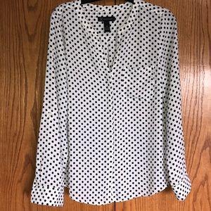 I.N.C. Polka dot, Split neck blouse